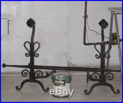 10 Pc Antique HUGE IRON HEARTH ANDIRONS SET FIREPLACE TOOLS Hand Wrought