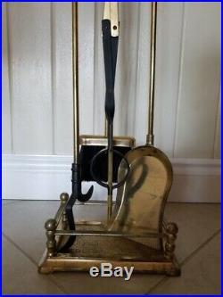 11-Pcs Antique Brass Fireplace & Hearth Set Wood Basket, Holder, Tools & Logs