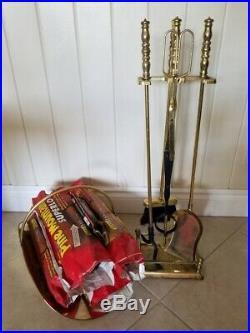 11-Piece Brass Fireplace & Hearth Set Wood Basket, Holder, Tools & Logs
