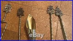 1930's Large Brass Nautical Don Fernando Ship motif Fireplace Tool Set