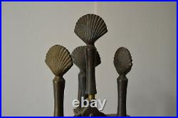 1940's Art Deco Brass Seashell Handle Fireplace Tool Set Vintage Nautical Decor