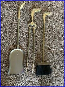 1950s Brass Fireplace Tools with Horse Head Motif Mid Century