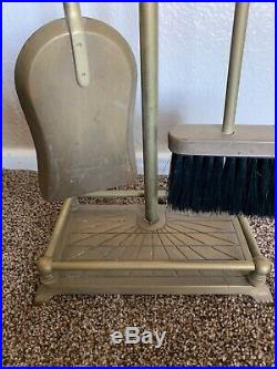 1950s Brass Fireplace Tools with Horse Head Motif Mid Century Broom Stand Shovel