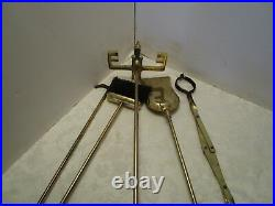 1970's Metal 5 pc Fireplace Tool Set stand marble Handles & base Retro