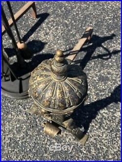 19th Century Antique Gilt Bronze & Iron Andirons & Matching Fireplace Tool Set