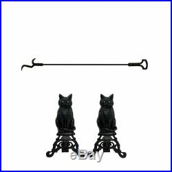 2 Piece Fireplace Tool Set with 37 Inch Poker & Iron Andiron Cat with Reflect