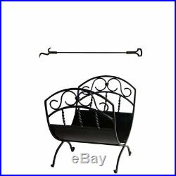 2 Piece Fireplace Tool Set with 37 Inch Poker with Key Handle & Wrought Iron