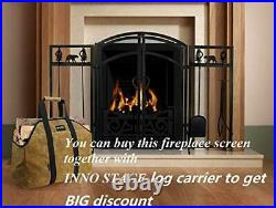 3-Panel Solid Fireplace Screen with 2 Doors and Fire Place Tools Sets Dark Black