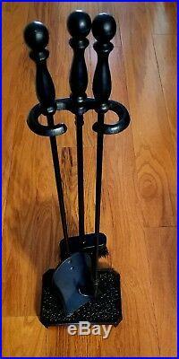 3 Pc Fireplace Tool Set Poker Shovel And Ash Brush Metal Black New
