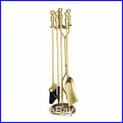30 5-piece Antique Brass Fireplace Tool Set