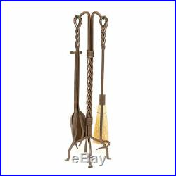 30 5-piece Bronze Finish Twisted Rope Fireplace Tool Set