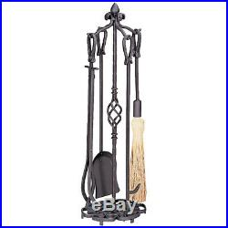 33 5-piece Bronze Heavy Wrought Iron Scroll Base Fireplace Tool Set