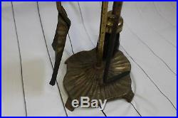 3547 Vtg Fireplace Tools Brass Wrought Iron Mid Century Heavy Duty 4 Pieces Set