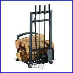 4 Piece Log Storage Holder and Fireplace Tool Set Durable Steel Antique Black