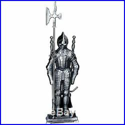 4 Piece Pewter Soldier Fireplace Tool Set F-7520