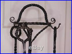 40 Antique Wrought Iron Fireplace Fire Tool Set with Stand Gothic Spanish Revival