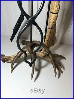 5 PIECE WHITETAIL DEER ANTLER FIREPLACE TOOL SET DISPLAY Hunting Cabin Decor