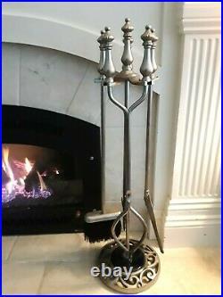 5 Pc Silver Fireplace Tool Set Poker, Shovel, Tongs, Brush, & Marble Base Stand