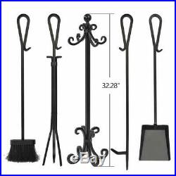 5 Pcs Fireplace Tool Set Log Holder Fireplace Pit Stand Tongs Shovel Broom Poker
