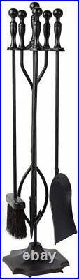 5 Pcs Fireplace Tools Sets Black Handle Wrought Iron Large Fire Tool Set