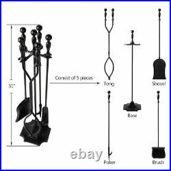 5 Pcs Fireplace Tools Sets Black Handle Wrought Iron Outdoor Pit Stand Chimney