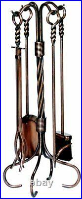 5 Piece Antique Copper Fireplace Tool Set 30 h
