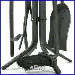 5 Piece Black Rustic Mini Fireplace Tool Set F-1126
