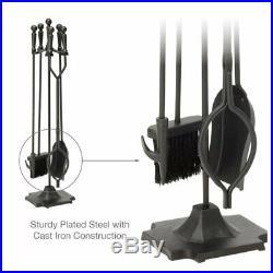 5 Piece Fireplace Tool Set Vintage Iron Tongs Shovel Poker Base Broom Tools Home