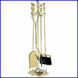 5 Piece Iron Fireplace Tool Set Polished brass Wipe+ a clean cloth Hot Winter