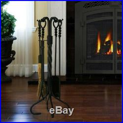 5 Piece Olde World Iron Ring and Swirl Fireplace Tools Less Than Perfect
