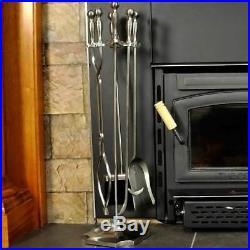 5 Piece Satin Pewter Fireplace Tool Set F-7547