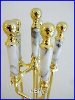 5-Piece WHITE MARBLE & POLISHED BRASS FIREPLACE TOOL SET Round Base Fire Tools