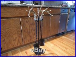 5 Piece Whitetail Deer Antler Fireplace Tool Set Display