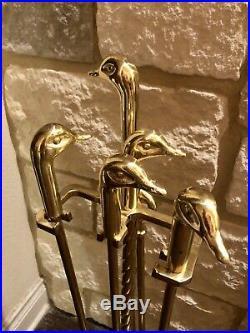 5 Piece fireplace tool Quality set Poker Brush SHovel Polished brass Duck Goose