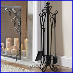 5 Pieces Scroll Fireplace Tools Set Black Cast Iron Fire Place Toolset with Log
