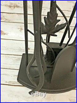 5 Set Fireplace Tool Set Shovel Broom Poker Tongs Stand Wrought Iron Bronze