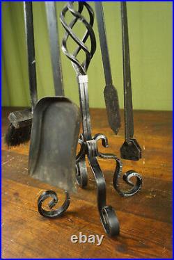 60er Vintage Fireside Set Fireplace Tool Sweeper Retro Ofenbesteck Wrought Iron