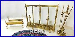 9 PC! Georgian Style Ornate Fireplace Set Glass Screen Log Holder Tools Andirons