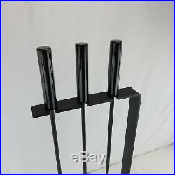 A Set of Mid-Century Modern Fireplace Tool Steel and Enameled Black Modernist
