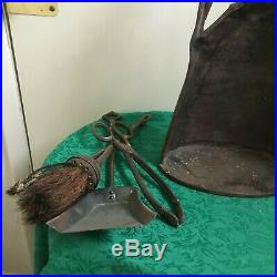 ANTIQUE FIREPLACE TOOL LADY FORGED IRON 4-Piece Fireplace Tools HESTON ENGLAND
