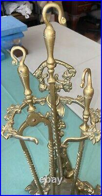 ANTIQUE FRENCH BRASS FIREPLACE TOOL SET HUNTING Dog MOTIF 24 Heavy