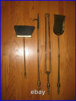 ANTIQUE ORNATE BRASS 5PC FIREPLACE HEARTH TOOLS SET Vtg Solid Brass Mid Century