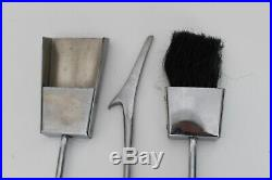 Alessandro Albrizzi Vtg Mid Century Modern Chrome Lucite Fireplace Tools Set