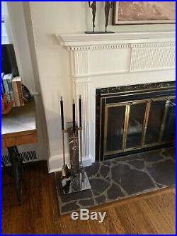 Alessandro Albrizzi Vtg Mid Century Modern Chrome Marble Fireplace Tools Set