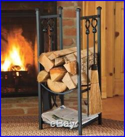 All-In-One Wood Rack with Fireplace Tool Set, Black