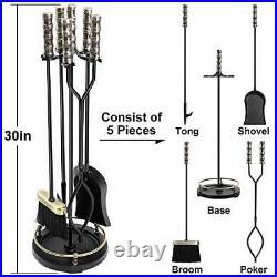 Amagabeli 30in Fireplace Tools Set Brass Handle 5Pieces Wrought Iron Indoor Fire