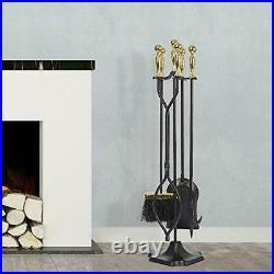 Amagabeli 5 Pcs Fireplace Tools Sets Golden Handle Wrought Iron Tool