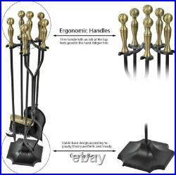 Amagabeli 5 Pieces Fireplace Tools Sets Brass Handles Wrought Iron Set Bronze