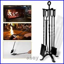 Amagabeli 5 Pieces Fireplace Tools Tool Set Bundle Fireplace Log Holder Bundle