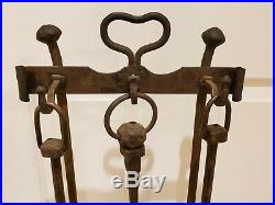 Antique 1800's Victorian Hand Forged Cast Iron Wrought Iron Fireplace Tool Set